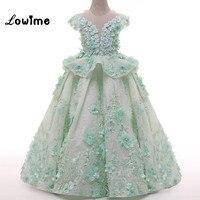 Зеленая мята Кружевные Платья с цветочным узором для девочек с цветами жемчугом красивые дети Пром платье короткий рукав детей платье инди