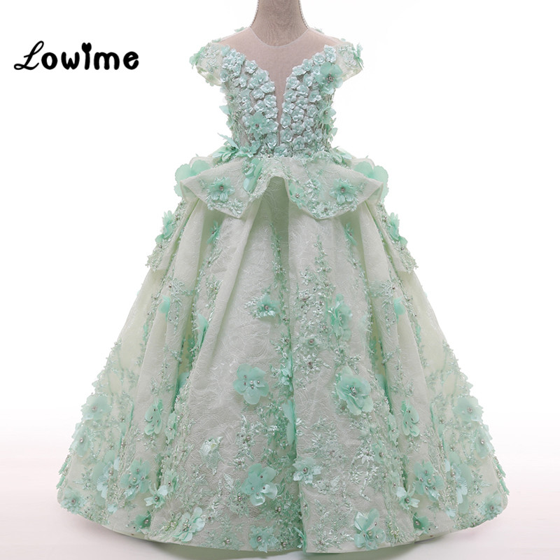 Mint Green Lace   Flower     Girl     Dresses   with   Flowers   Pearls Pretty Kids Prom Party   Dress   Short Sleeve Children Gown Custom Made