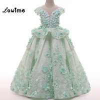 Mint Green Lace Flower Girl Dresses With Flowers Pearls Pretty Kids Prom Party Dress Short Sleeve