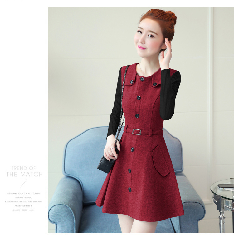 winter new round collar single-breasted cloth dress belt buttons A word women dresses Korean fashion outfit lady vogue vestido 17