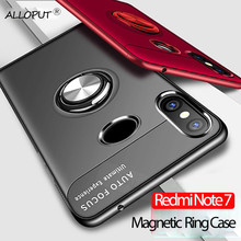 Soft Silicone Case for Xiaomi Redmi Note 7 Finger Ring Cover Full Protection Magnet Metal