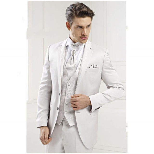 Notched Lapel Two Button Groom mens white satin suit Tuxedo Male ...