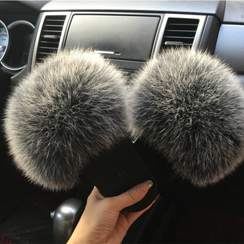 2020 hot Sale Women Fur Slippers Luxury Real Fox Fur Beach Sandal Shoes Fluffy Comfy Furry Flip Flops