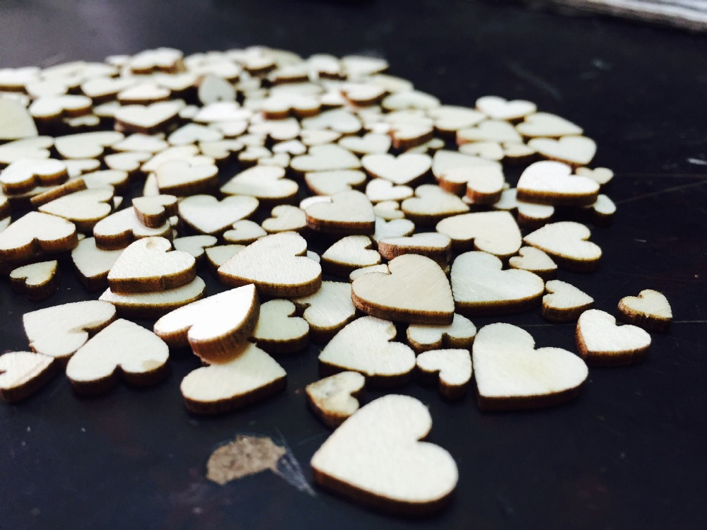 100pcs/ wooden heart shape/ different size /home decoration/children gifts/DIY/Lovely/ ...