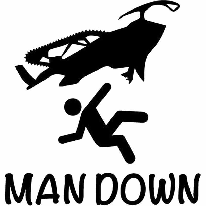 22.9CM*24CM Man Down Funny Sled Sticker Ski Doo Arctic Cat Snowmobiling Sound Snow Car Stickers Decoration Black Sliver C8-1019