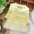 2017 Newborn Spring Long Sleeve pearl Lace Bow Baby Party Birthday girls gift kids Children Cotton dresses princess infant Dress