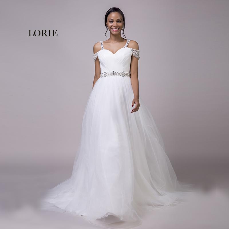 Lorie Beach Wedding Dresses Spaghetti Strap Beaded Sashes Princess