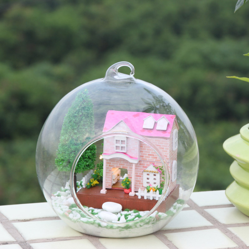 DIY Glass Ball Dollhouse Sweetheart MG002 Delicate Dreams Wooden Handmade Assembling Furniture Pink Villa Micro Landscape Doll 1