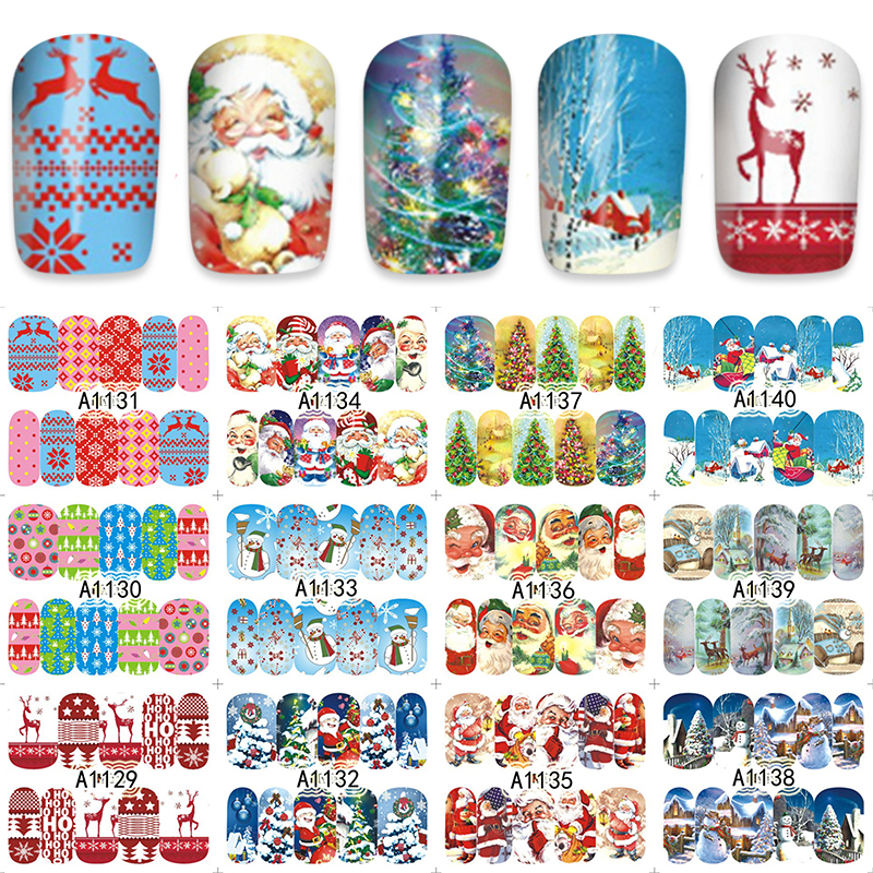 ZKO 48 Sheets Christmas Mixed Decals Nail Art Water Transfer Stickers Full Wraps Santa/Snowflake Nail Tips DIY A1129-1176 nail art water transfer stickers christmas style mix santa claus bell gift angel etc12 design decals christmas decoration set