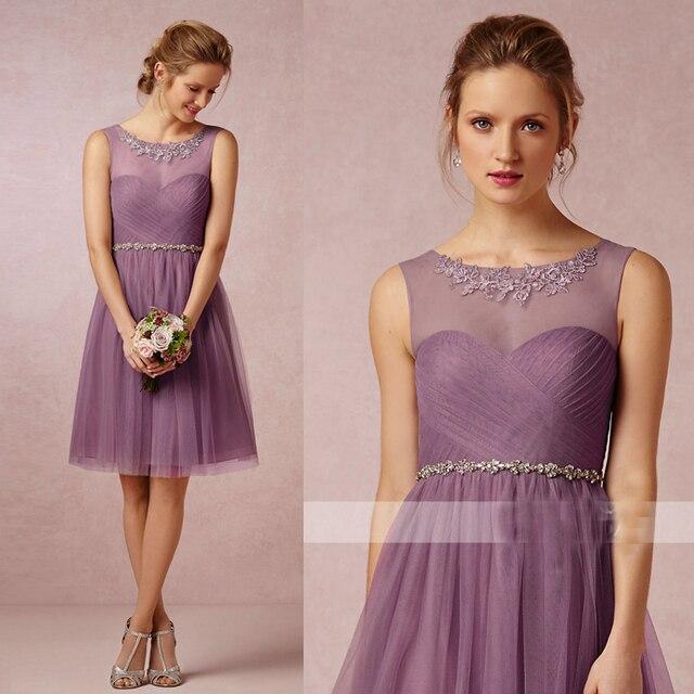 e422ad3ea0d Light Pink Purple Grey Gray Ivory White Knee-Length Short Tulle Bridesmaid  Dresses