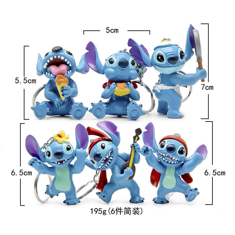 6 pçs/lote Stitch action figure chaveiro toy set 2016 Novo Anime ponto estatueta figura cadeia chave do carro styling fonte do partido decoração