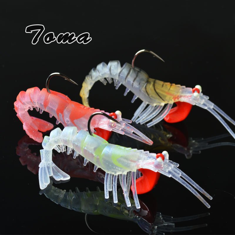 TOMA 3PCS/lot Soft Shrimp Fishing Lures Artificial Shrimp Baits 7g/10g/13g/19g Colors Soft Lure Bionic Bait With Lead Hook 10pcs 21g 14g 10g 7g 5g metal fishing lure fishing spoon silver and gold colors free shipping