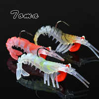TOMA 3PCS/lot Soft Shrimp Fishing Lures Artificial Shrimp Baits 7g/10g/13g/19g Colors Soft Lure Bionic Bait With Lead Hook