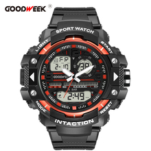 GOODWEEK Men Sport Watch Multifunction Waterproof Military Led Digital Chronograph Watches Dual Display Run Reloj Hombre