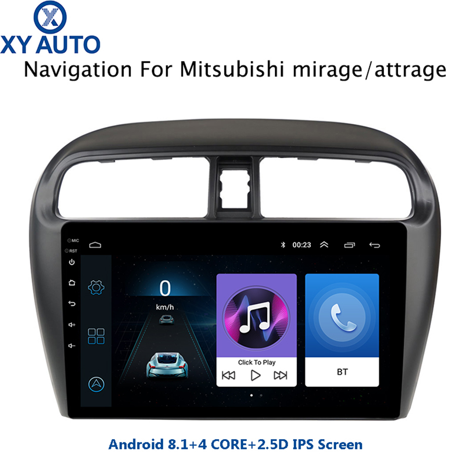 NAVI Attrage Android 8.1 9inch Tempered-Hd Multi-Touch-Screen SWC Mitsubishi 0 for Usb-Wifi-Support