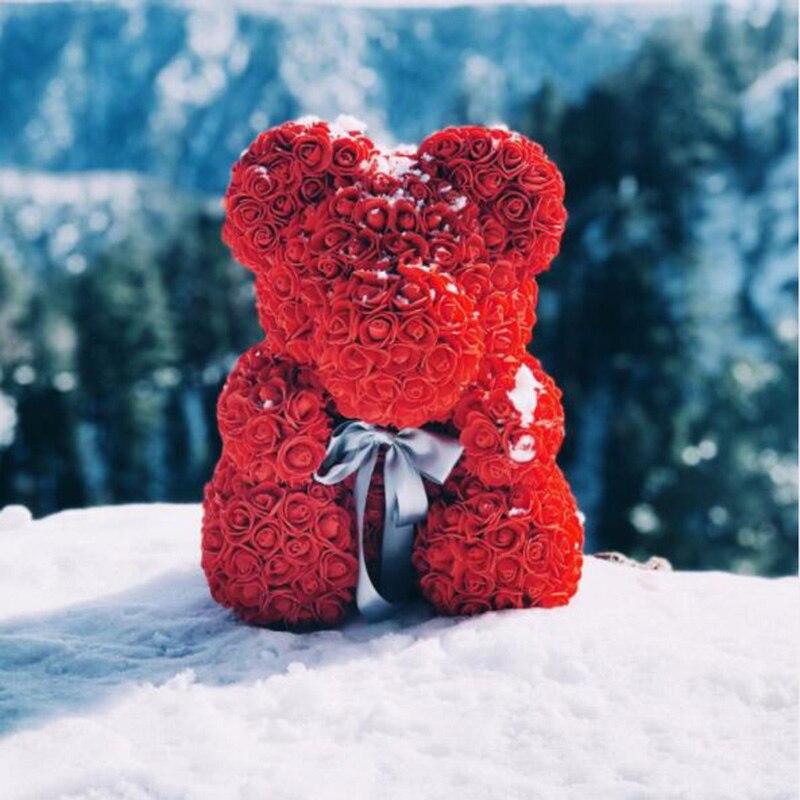 Adorável 25 cm/40 cm ursinho de pelúcia artificial rosa flores pe rosa urso para a namorada feminina dia dos namorados crianças presente de aniversário