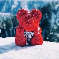 Lovely 25cm/40cm Teddy Bear Artificial Rose Flowers PE Rose Bear for Women Girlfriend Valentine's Day Kids Birthday Gift