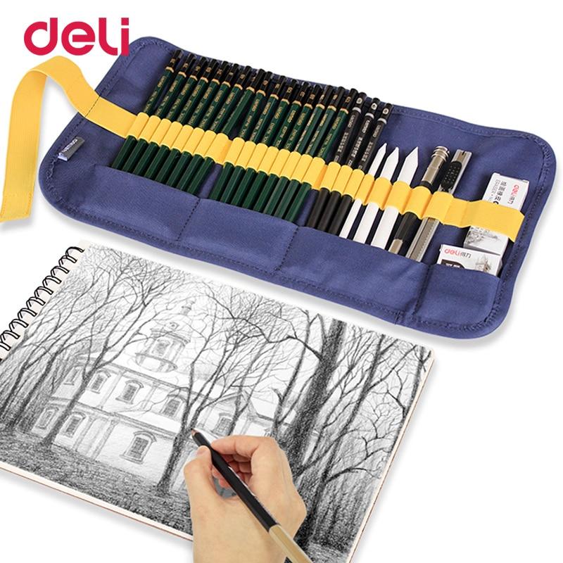 Deli creative 27pcs/set paint sketch set professional art drawing charcoal pencil paper eraser fabric bag for school supply gift