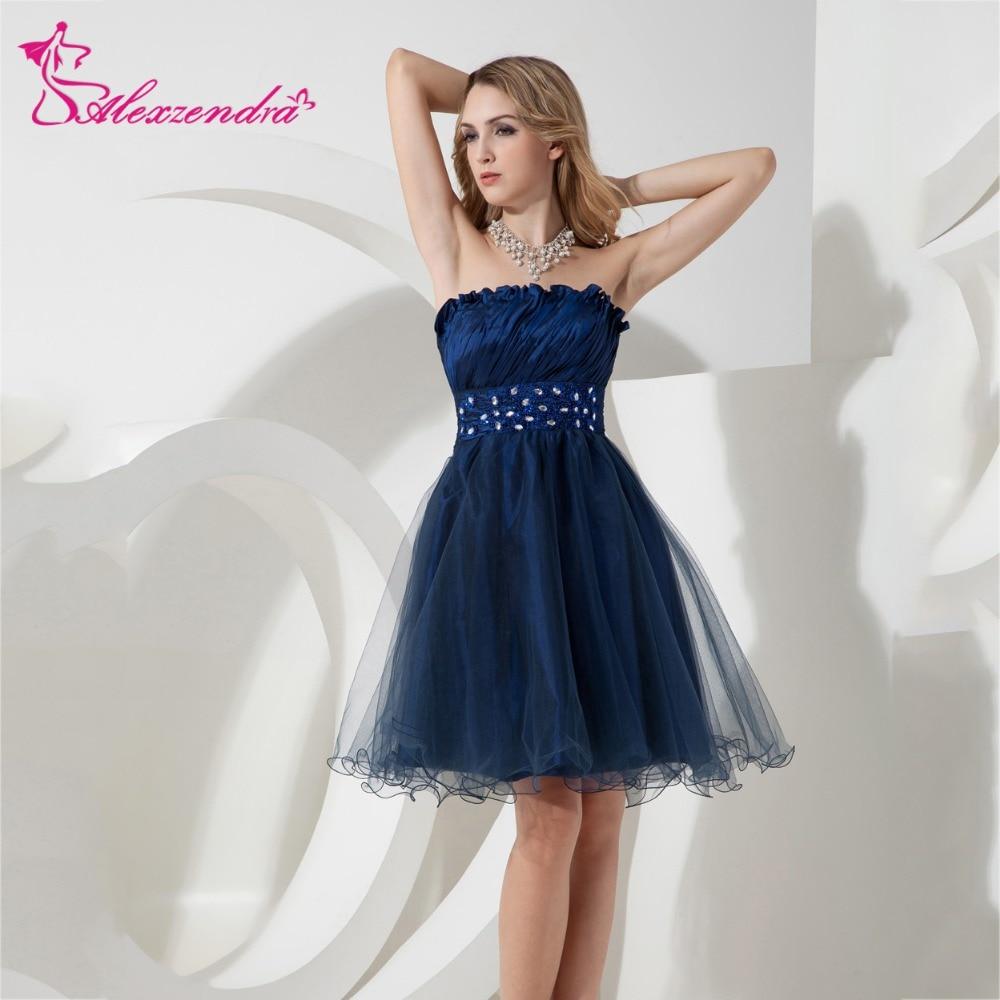 Alexzendra Navy Blue Organza A Line Mini Short   Prom     Dresses   2018 Strapless Beaded Belt Party   Dresses   Plus Size