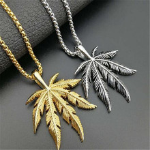 HIP HOP Gold 316 Stainless Steel Leaf Pendant & Necklace For Men Jewelry Dropshipping