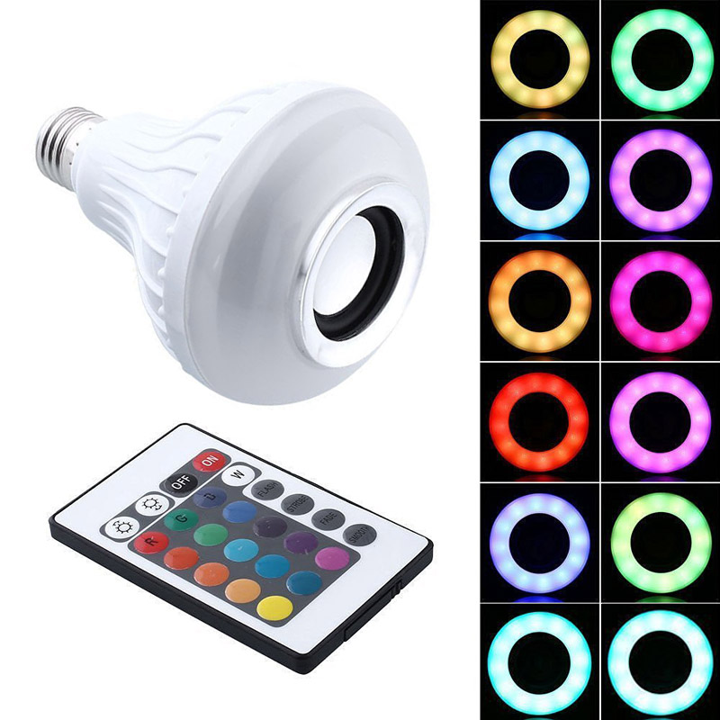 12W E27 LED RGB Wireless Bluetooth Speaker Bulb Light Music Playing Lamp+Remote Controller --M25 image