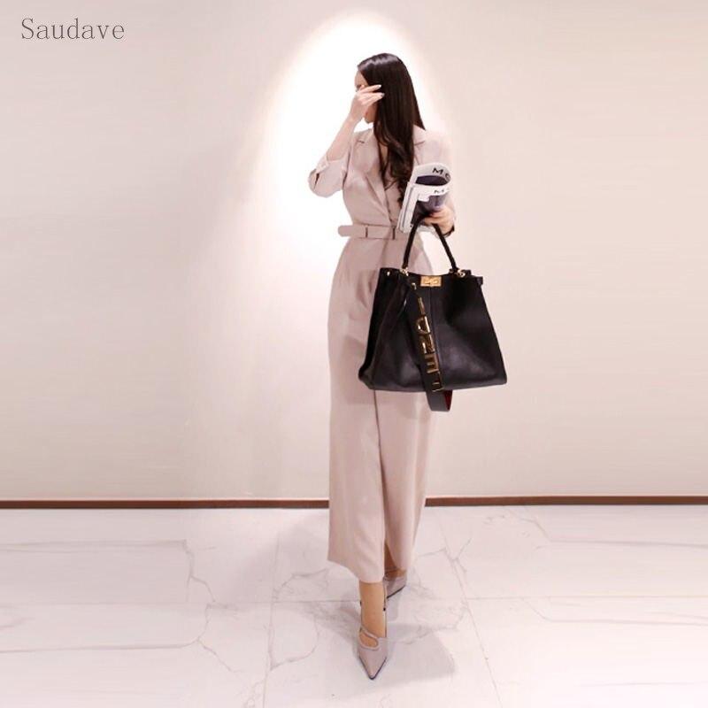 Mode combinaison femmes barboteuse à manches longues de haute qualité rose hiver automne bureau dame combinaison femme Streetwear salopette barboteuse