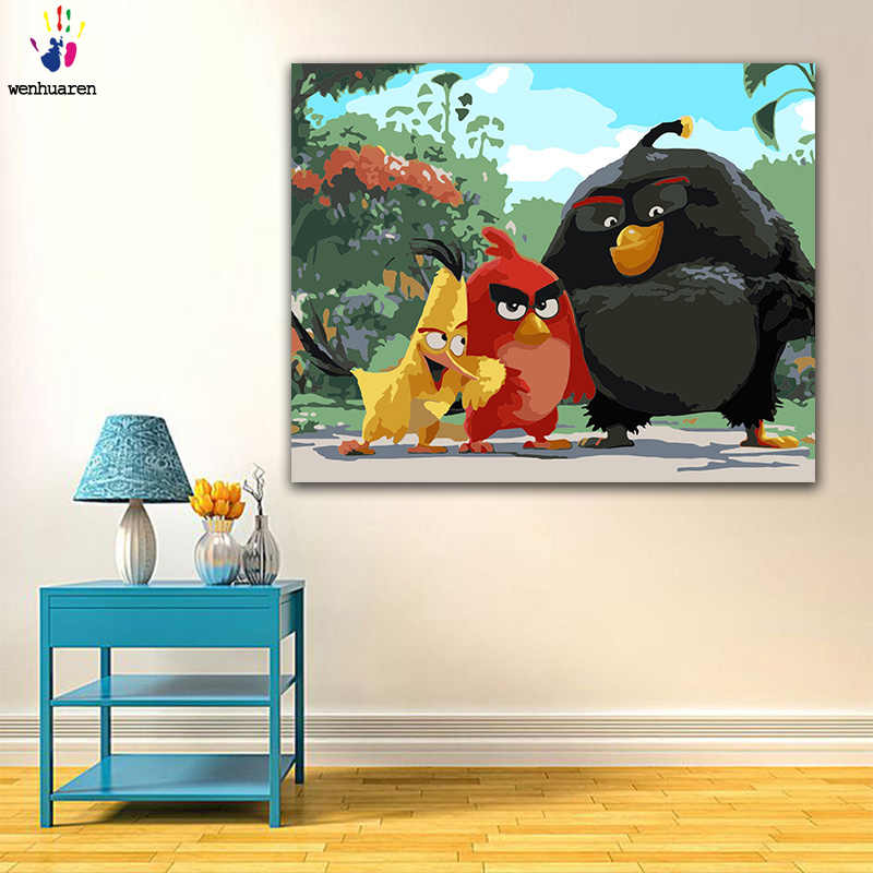 Diy Colorings Pictures By Numbers With Colors Angry Bird Cartoon Illustration Picture Drawing Painting By Numbers Framed Home Aliexpress