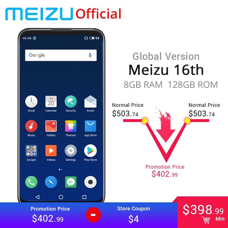 Official Global Version Meizu 16th 16 Th 8gb 128gb Snapdragon 845 Octa Core 6.0 Inch 2160x1080p 3010mah Battery Dual Rear Camera