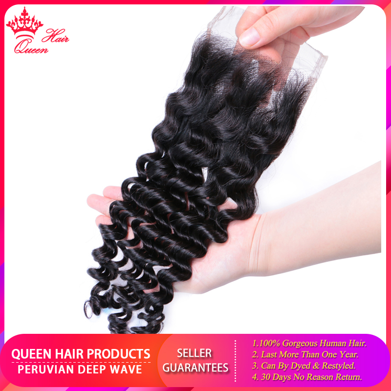 Queen Hair Products Peruvian Human Hair Deep Wave Lace Closure 4x4 Free Part Closure 130% Destiny Swiss Lace Remy Hair Closure
