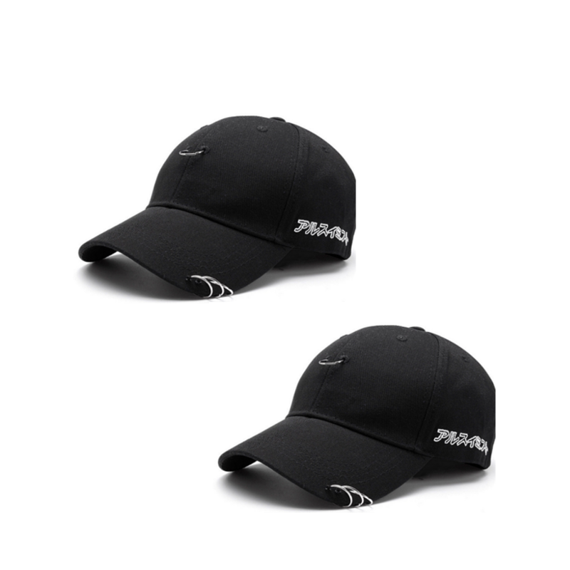 NaroFace 2pcs Unisex Solid Ring Safety Pin Curved Hats Baseball Cap Men Women Snapback Caps Baseball Hat Black White