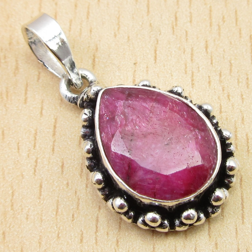 Drop Cut Red rubi Stone ! Silver Plated Pendant 1 1/8 Inches WELL MADE