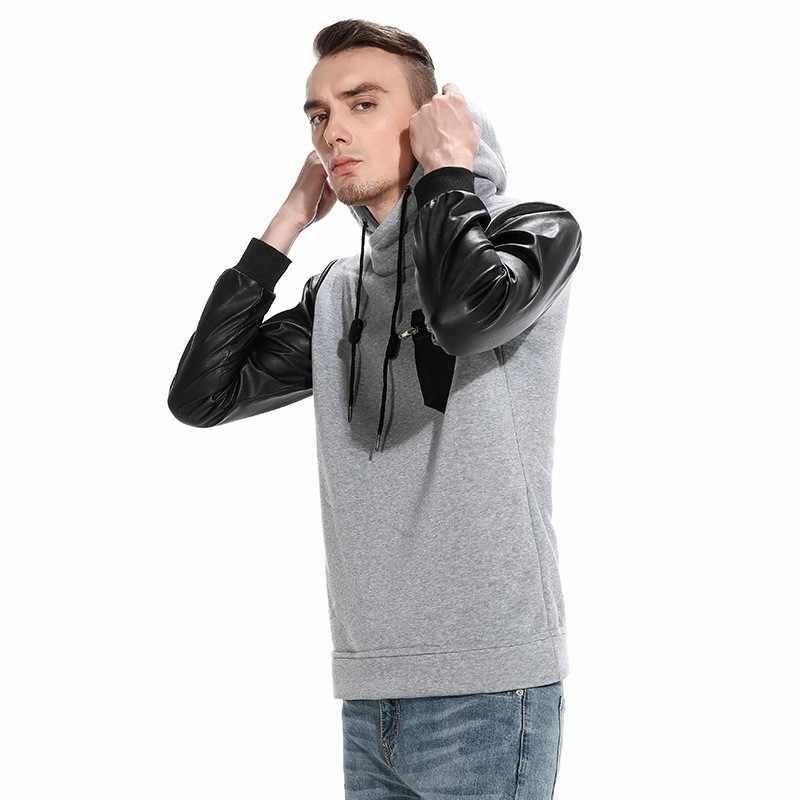 Moomphy сплайсинга кожа рукав толстовки мужчин Уличная толстовка мужская с длинными рукавами в стиле хип-хоп Мужская толстовка с капюшоном пуловер Кофты