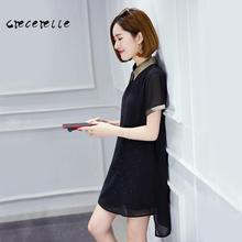 New Spring Womens Polo Collar Chiffon Dress XL-5XL Charming Lovely Big Size Female Fashion Dress Belle Dress Office Dress D143