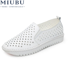 MIUBU 2019 Slipony Women Shoes With Hole Breathable Flat Sneakers Summer Spring Ladies Leather Footwear