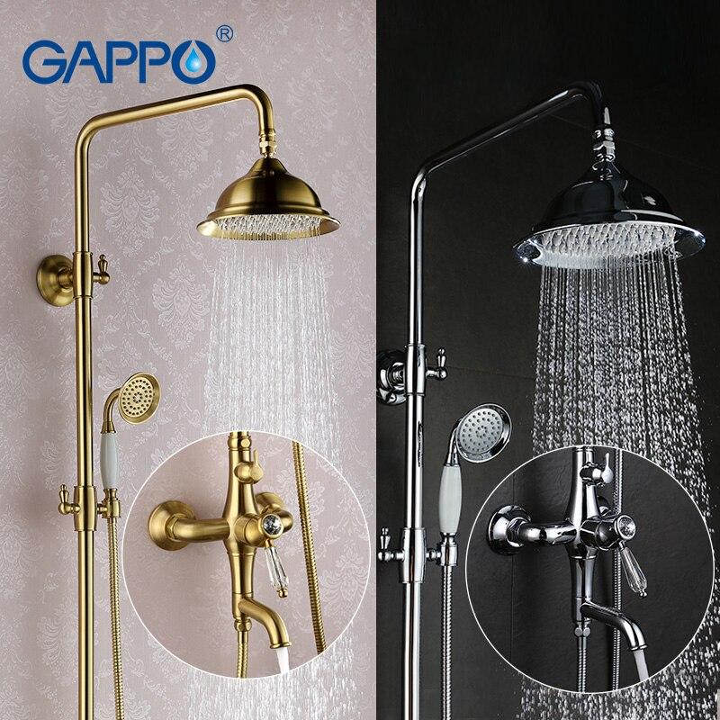 GAPPO Bathroom Shower Faucet Set Bronze Bathtub Mixer Shower Faucet Bath Shower Tap Waterfall Big Rain
