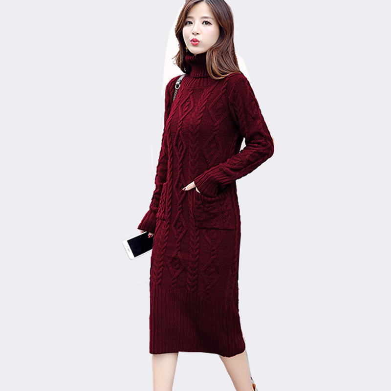 Women Turtleneck Long Sleeve Knitted Sweater Dress Women Slim Bodycon Pullover Robe Pull Femme Autumn Winter Dress New 2017 76 women turtleneck front pocket sweater dress
