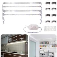 4Pcs LED Rigid Strip Light Bar Under Cabinet Shelf Cupboard Lighting LED Strips Push button Version with Milky PC Cover