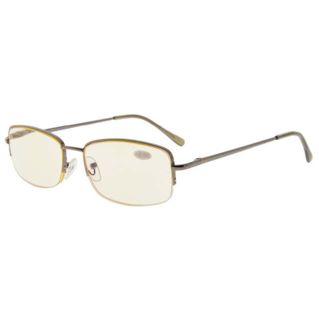 91ad55f6a99 CG15015 Eyekepper Classic Metal Frame Half Rim Spring Temples Computer Reading  Glasses Readers Yellow Tinted Lenses