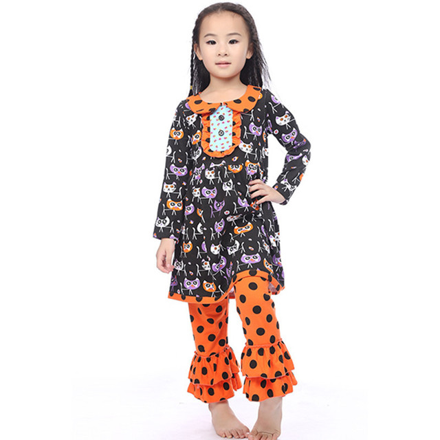Halloween Baby Girl Sets Children Clothing Cute Carton Cat Ruffle Clothing  Set Dress Trousers Set Adorable Boutique Outfits a30c7ada6e