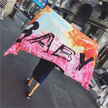 LEAYH Brand 180*100cm Ethnic Style Halo Dyed BABY Letter Suncreen Scarf Women Beach Long Shawl Dual-use silk Head Scarves