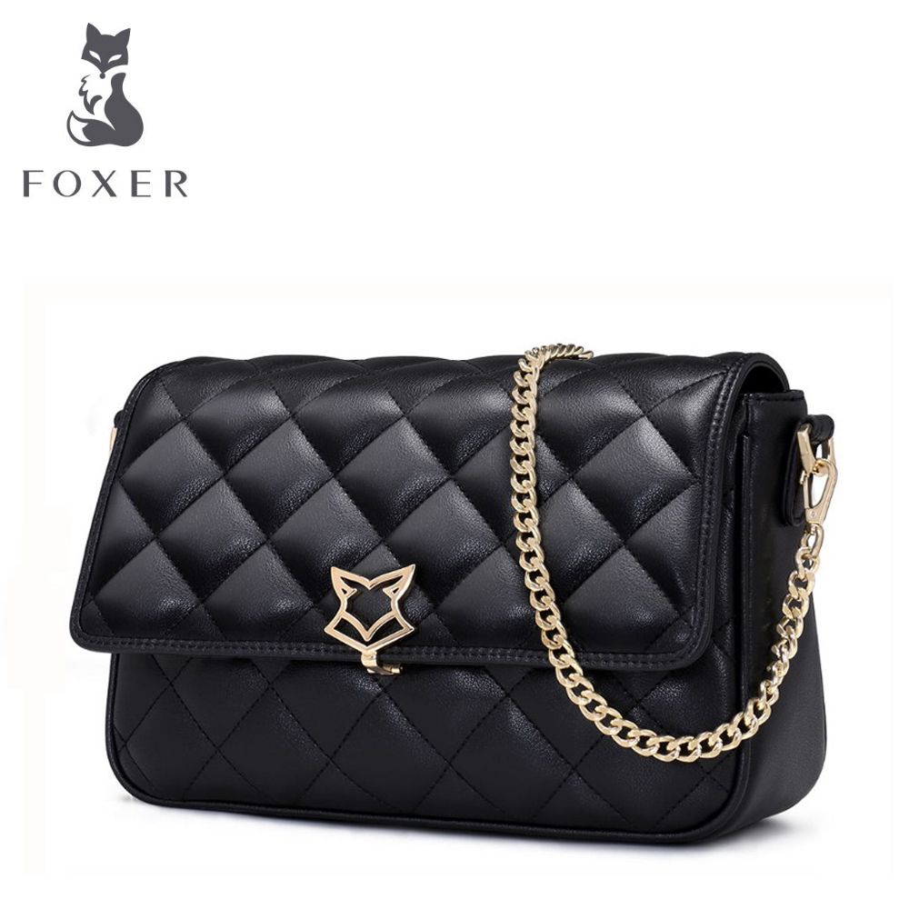 FOXER Brand Women Leather Bag Simple Cowhide Shoulder Bag Small Square Package Lingge Chain Messenger Bag & Crossbody Bags 2017 fashion all match retro split leather women bag top grade small shoulder bags multilayer mini chain women messenger bags