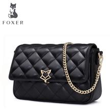 FOXER brand 여성 가죽 가방 간단한 쇠가죽 채찍으로 치다 어깨 가방 작은 정사각형 패키지 Lingge chain messenger bag & Crossbody strap Bags