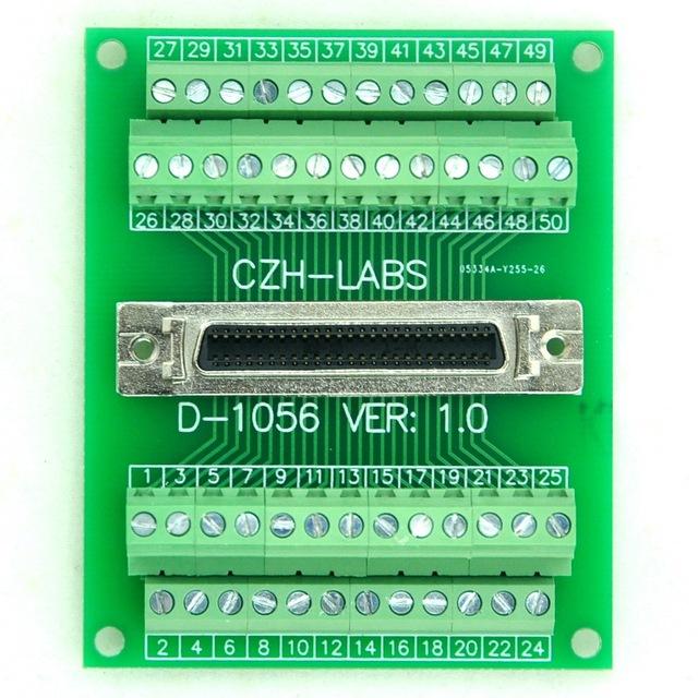 """50-pin 0.05 """"Mini Fita D/MDR Female Breakout Board, SCSI, Módulo Do Terminal."""