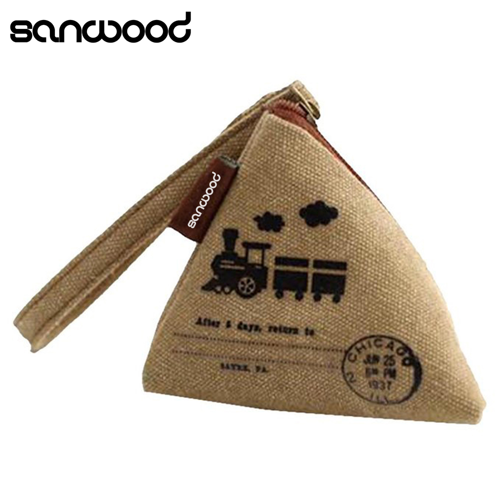 Unisex Canvas Small Mini Triangle Wallet Coin Purses Clutch Money Bags with Strap rosediary england impressions canvas girls mini coin purses vogue classic coin wallet case with zipper small money bags