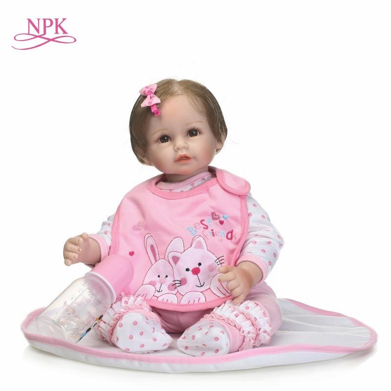 NPK Simulation reborn bébé poupée vinyle silicone réel doux au toucher mignon grands yeux fille poupée jouets pour enfants le jour de l'anniversaire