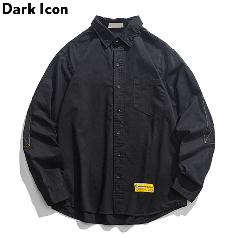 Solid Color Long Sleeved Shirt Men Turn-down Collar Front Pocket Oversized Shirt Contrast Threads On Sleeve Shirt For Men
