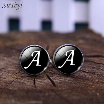 SUTEYI Charms Letter Glass Mens Cufflinks Simple Letter Pattern Silver Plated Cufflink Handmade Wedding Shirt Cuff Links Jewelry image