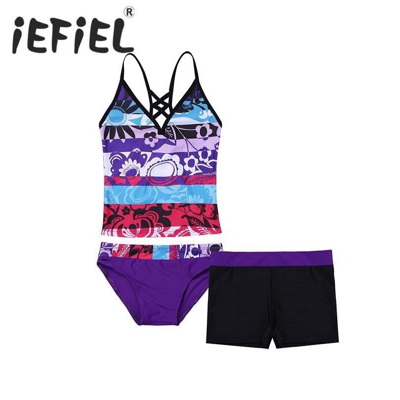 Hot Sale Girls Tankini Floral Printed Swimsuit Bikini Set Sexy Two Pieces Swimwear 2019 Girls Children Kids Beachwear Swimsuits(China)