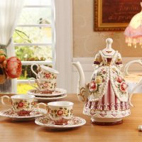 Creative Beauty Skirt Coffee Cup Set Wedding Gifts Beauty Princess Gorgeous Dress Ceramic Tea Set Fashion Afternoon Tea Gift
