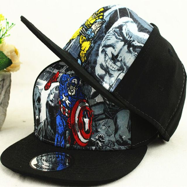2015 New Fashion Cartoon Hero Captain America Embroidery Cap Snapback Hats  Hip-hop Baseball Caps For Kids Free Shipping f64899c43a05